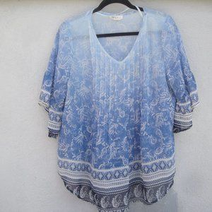 Bohemian Style Poly Sheer Shades of Blue Blouse PL